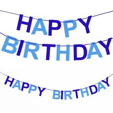 Happy Birthday Girlande Banner Geburtstag Party Jungen - blau