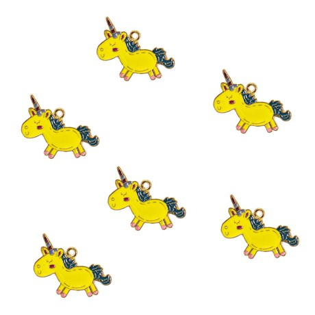 6 x Schlüsselanhänger Einhorn Anhänger Kindergeburtstag Mitgebsel gelb