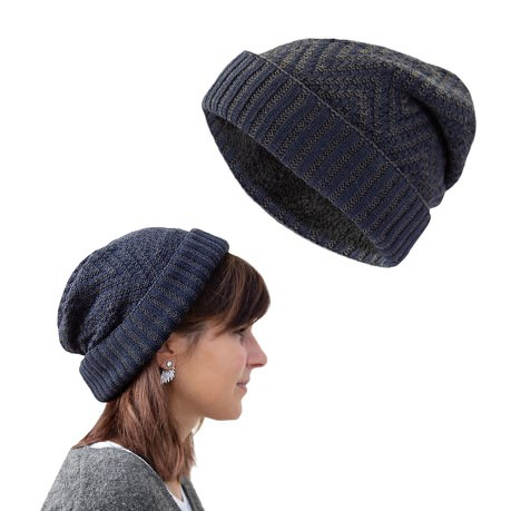 Long Beanie XXL Slouch Winter Mütze Grobstrick Damen Herren Kinder - grau blau