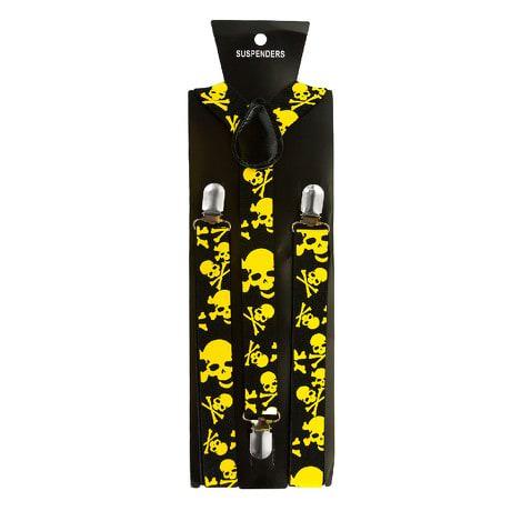 Hosenträger Unisex verstellbar Y -Form - schwarz - gelbe Totenköpfe
