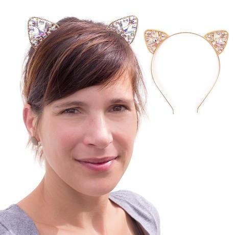 Haarreifen Katzenohren Metall Haarreif für Fasching Karneval gold
