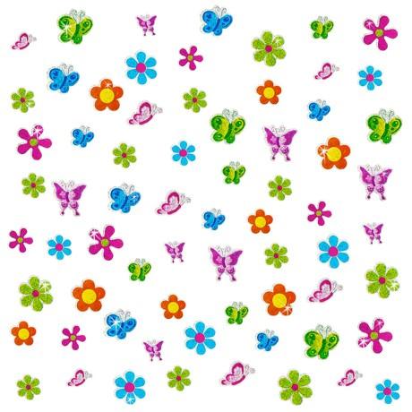 68 Sticker Aufkleber Blumen Schmetterlinge glitzernd Kinder - bunt