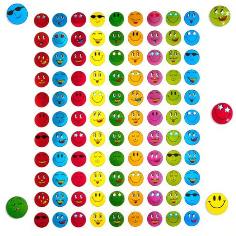 900 Smiley Sticker Aufkleber Face Lächeln Smily - metallic look bunt