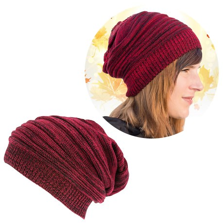 Long Beanie Mütze XXL Damen Herren Kinder Winter Mütze - darkred-black