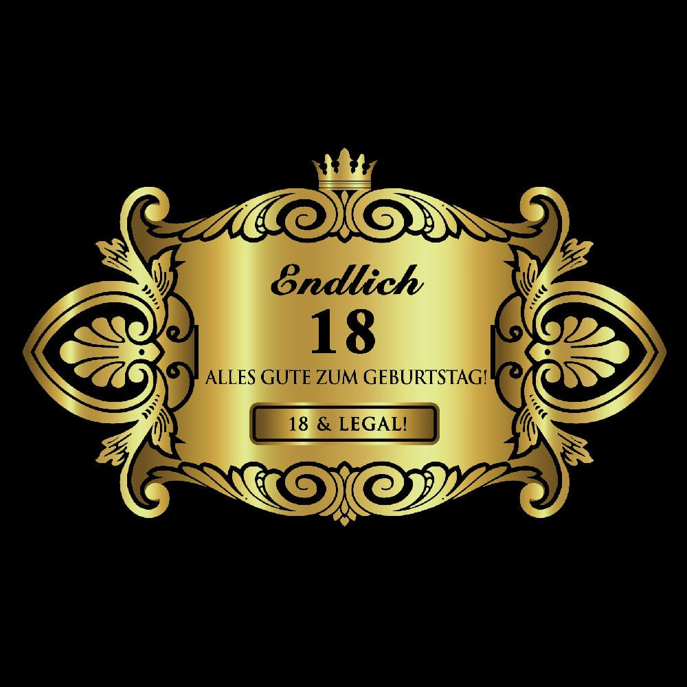 flaschenetikett aufkleber sticker gold geburtstag endlich 18. Black Bedroom Furniture Sets. Home Design Ideas