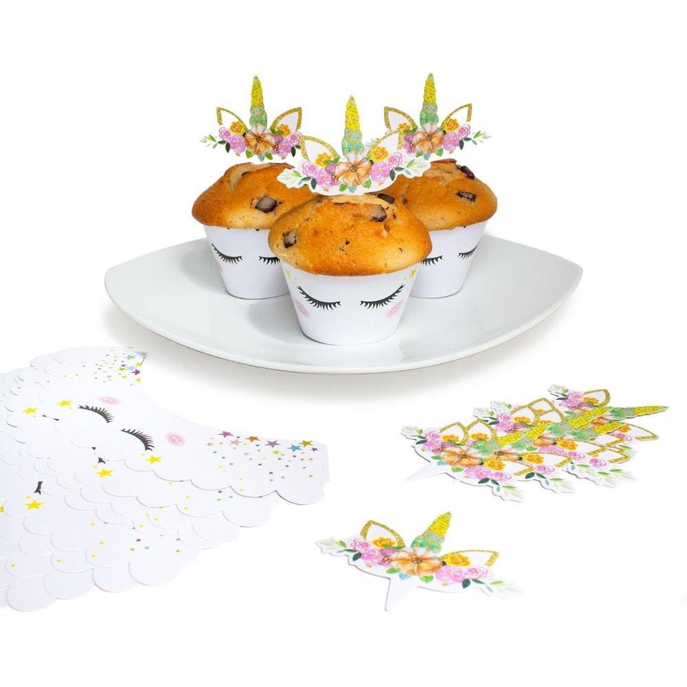Torten Topper Kuchen Aufsatz Einhorn Muffin Cupcake Topper Deko Set