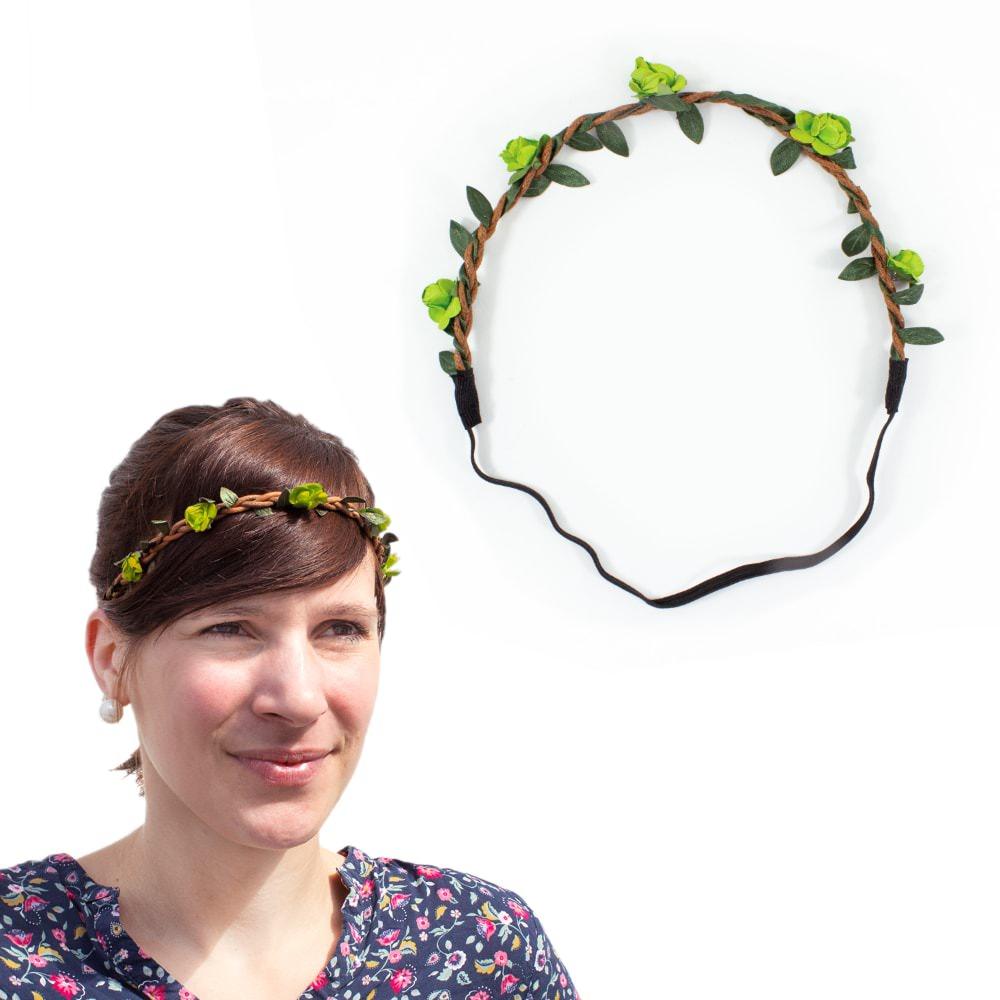 Blumen Haarband Stirnband Haarschmuck Bohemia Kopfschmuck Grün