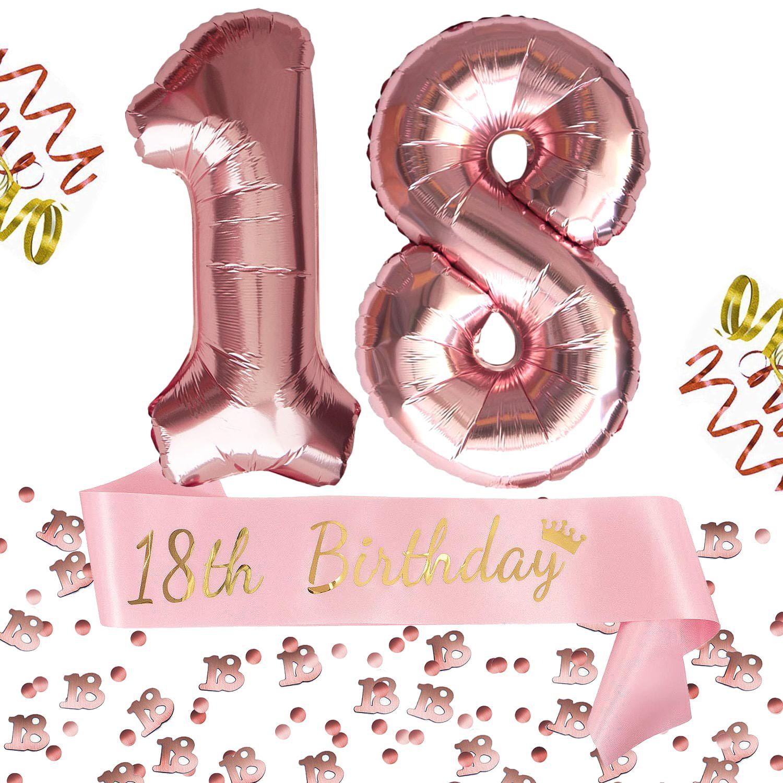 18 Geburtstag Party Deko Set 18th Birthday Schärpe Zahl 18