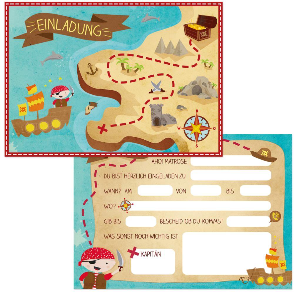 Einladung 6 Geburtstag: 6 Einladungskarten Kindergeburtstag Piraten Party Einladungen