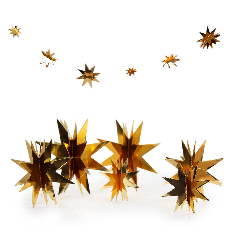 Stern Weihnachten.Deckenhänger Girlande 3d Sterne Weihnachten Deko Weihnachtsdeko Gold