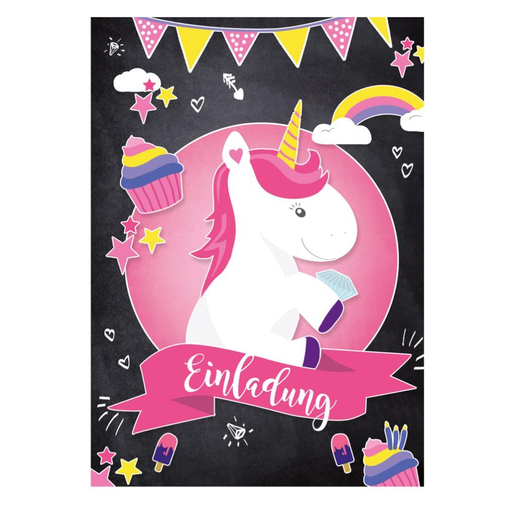 Einladung 6 Geburtstag: 6 Einladungskarten Kindergeburtstag Einhorn Party Einladungen