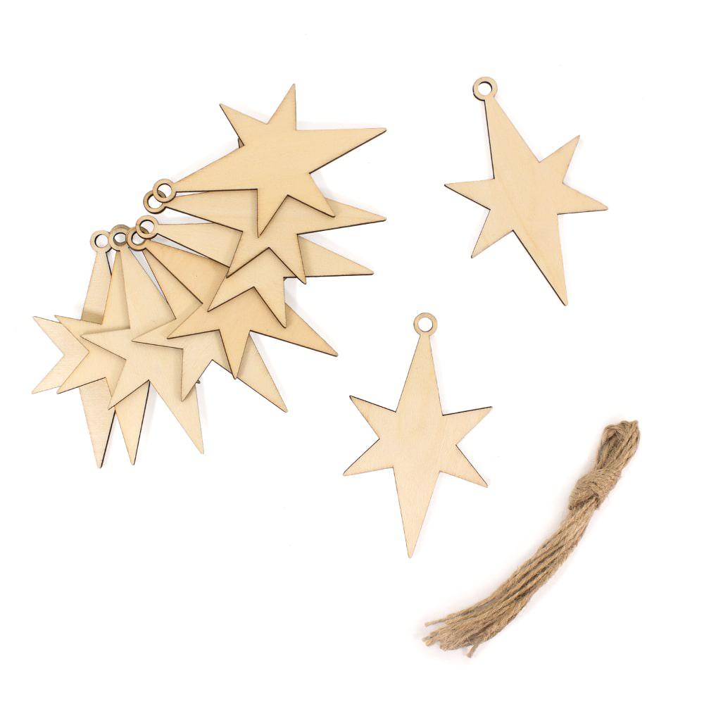 Sterne Für Weihnachtsbaum.10 Holz Sterne Mit Schnur Weihnachtsbaum Christbaum Anhänger