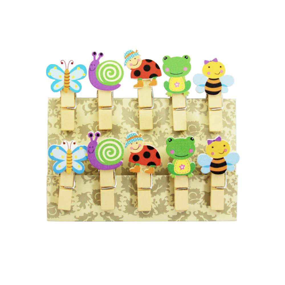 10 Mini Wascheklammern Holz Miniklammern Deko Klammern Tiere