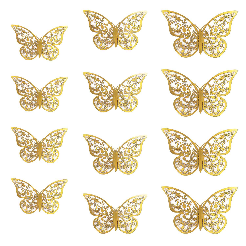 3D Schmetterlinge 12er Set glänzend Wandtattoo Wanddeko - gold