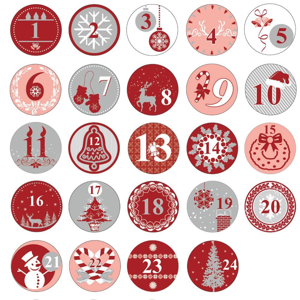 24 adventskalender sticker zahlen aufkleber weihnachten. Black Bedroom Furniture Sets. Home Design Ideas