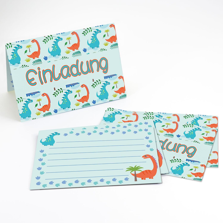6 dino einladungskarten kindergeburtstag dinosaurier party