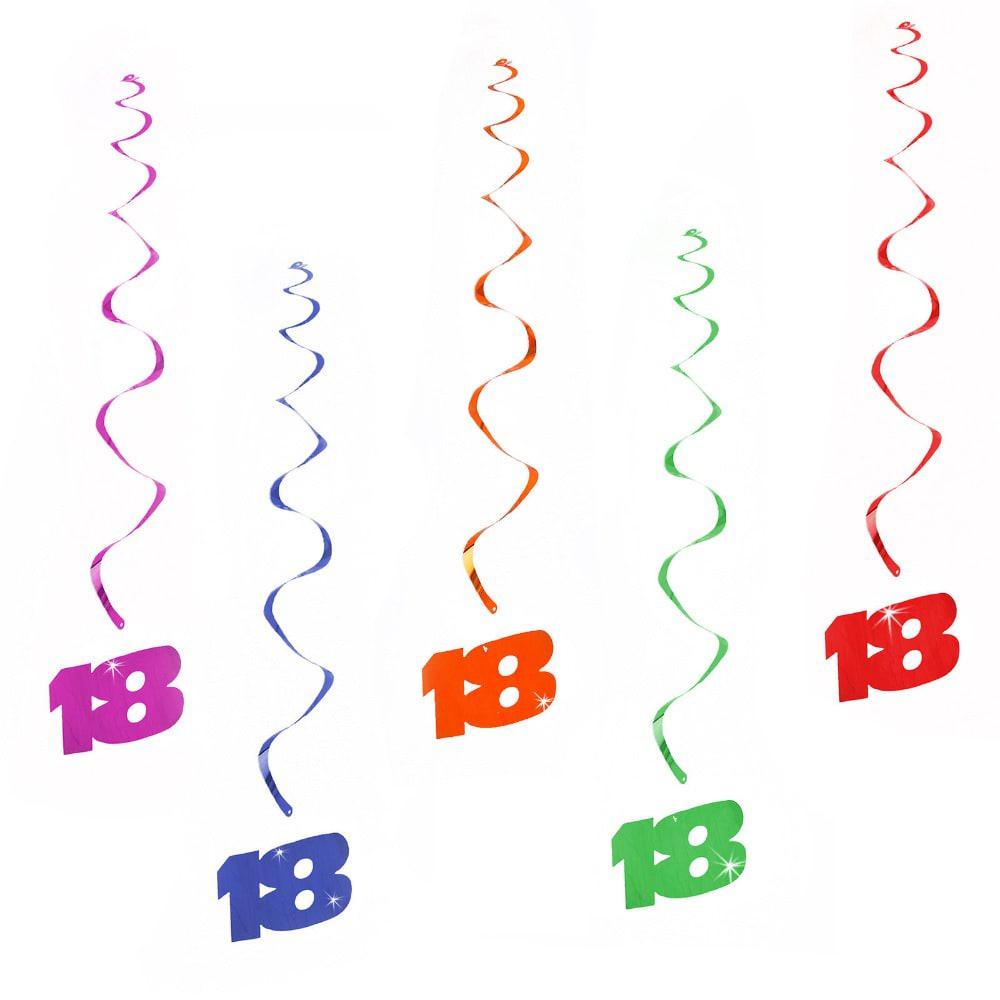 5 Wirbel Deckenhänger 18. Geburtstag mit Bändern und Ösen - bunt