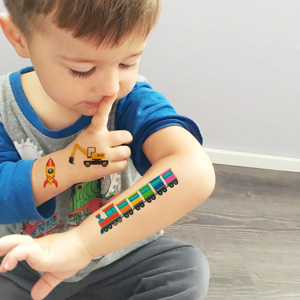 36 Temporäre Klebetattoos Kinder Tattoo Set Auto Bagger Traktor Mix