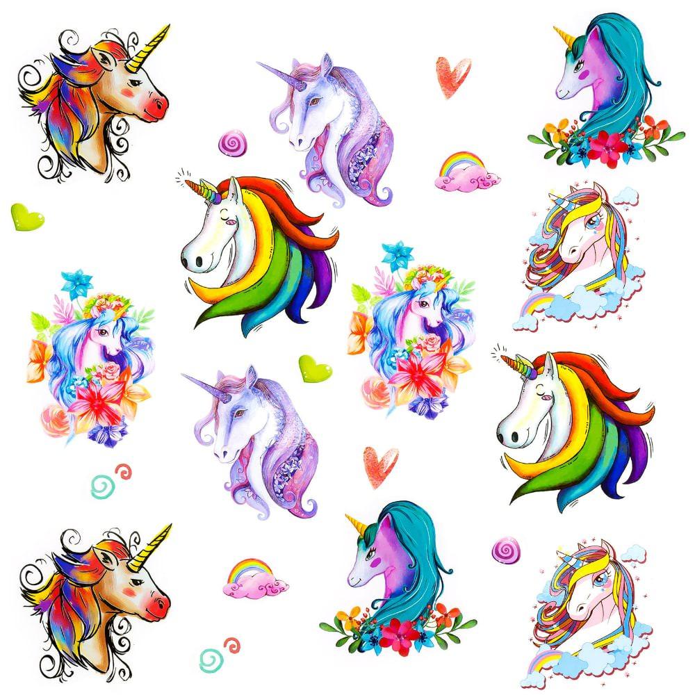 einhorn tattoo set 12 stk temporäre unicorn tattoos