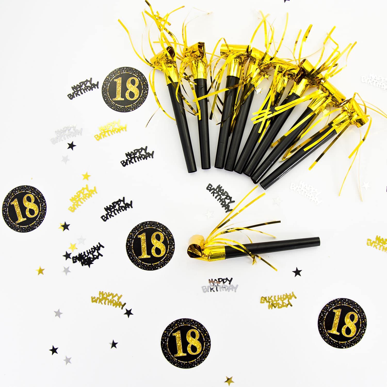 Konfetti Zahl 18 Geburtstag Jubiläum Hochzeitstag Tisch Deko Streudeko Schwarz Gold