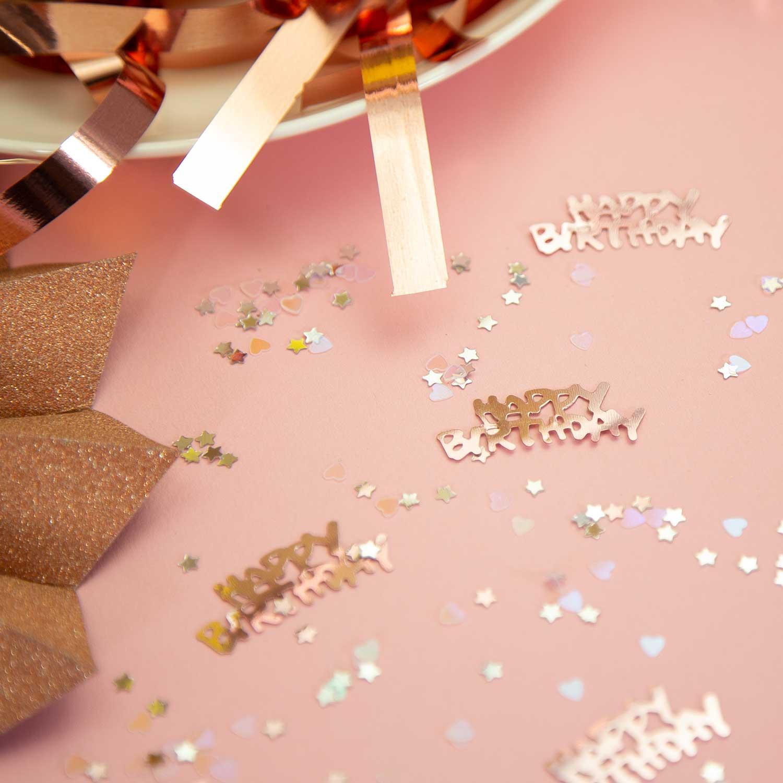 Konfetti Set 500 Stk Happy Birthday Sterne Herzen Tischdeko