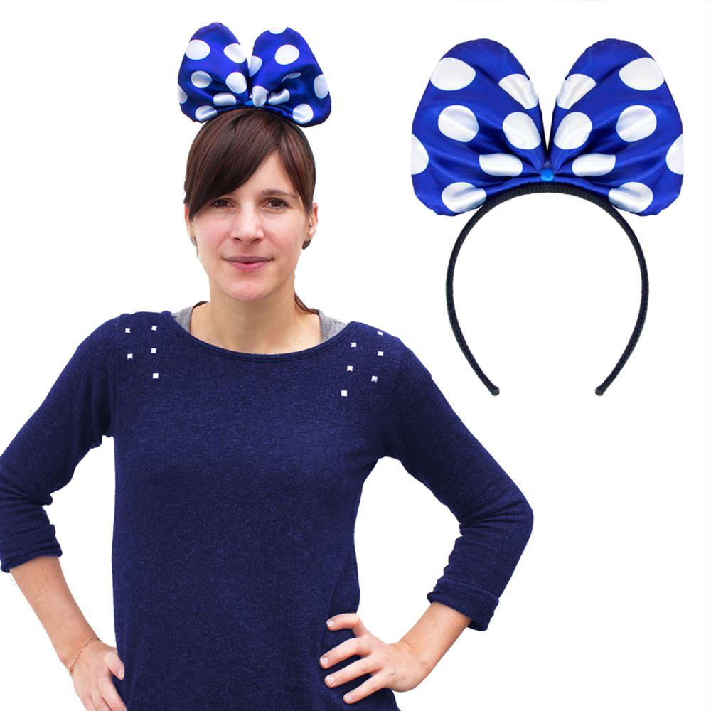Haarreif Haarreifen Grosse Schleife Fasching Karneval Blau