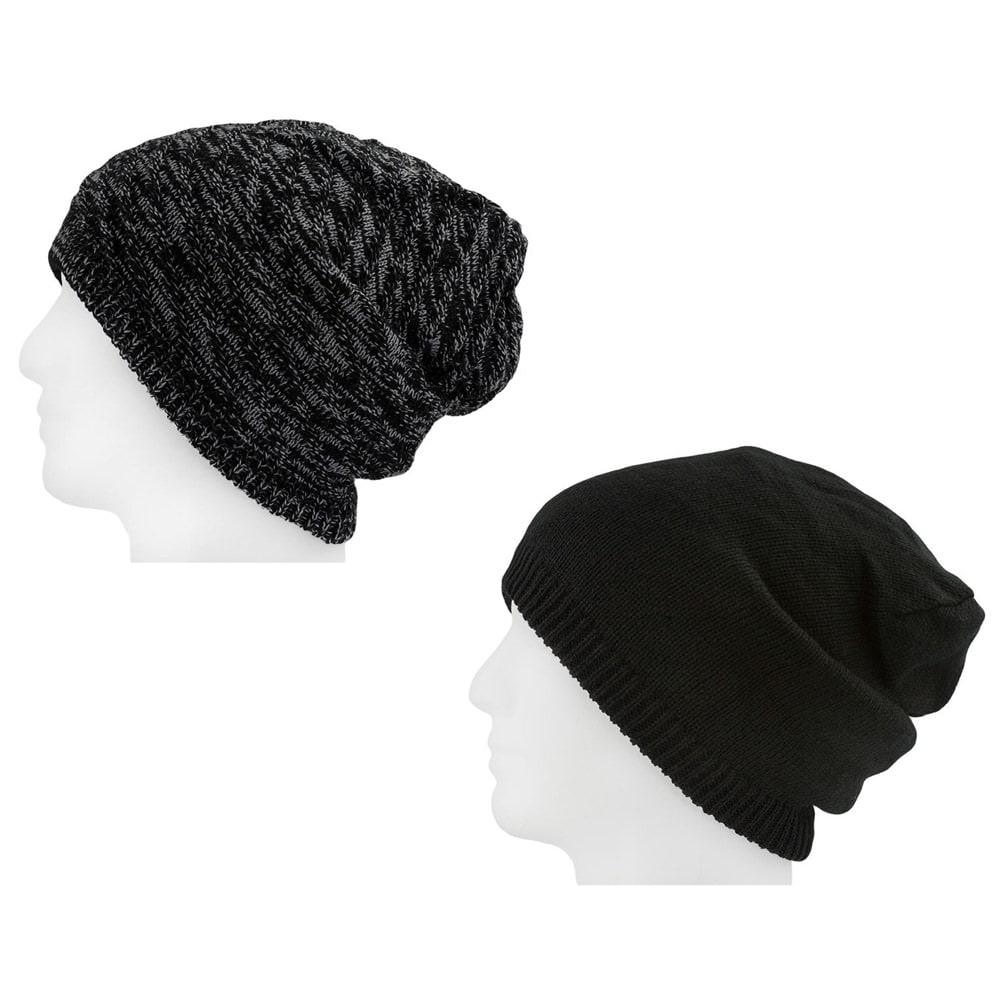 badf095f734 XXL Beanie Mütze zweiseitig Damen Herren Winter Mützen - black-grey
