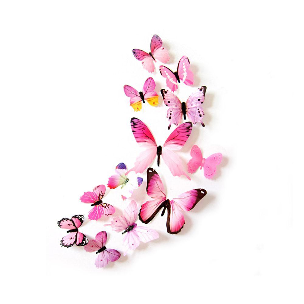 3d Schmetterlinge 12er Set Wandtattoo Wandsticker Wanddeko Real Rosa