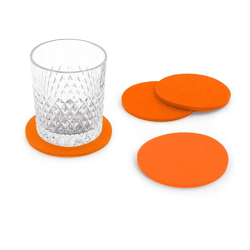 4 filz untersetzer glasuntersetzer rund orange. Black Bedroom Furniture Sets. Home Design Ideas