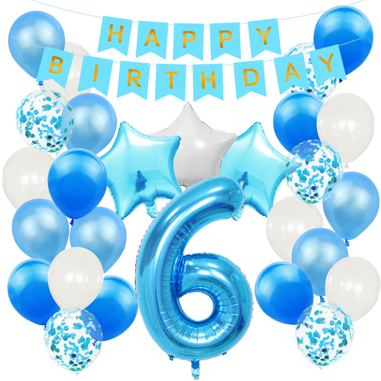 8. Geburtstag Party Deko Set   Happy Birthday Girlande + Zahl 8 Ballon +  Konfetti Luftballons + Sterne