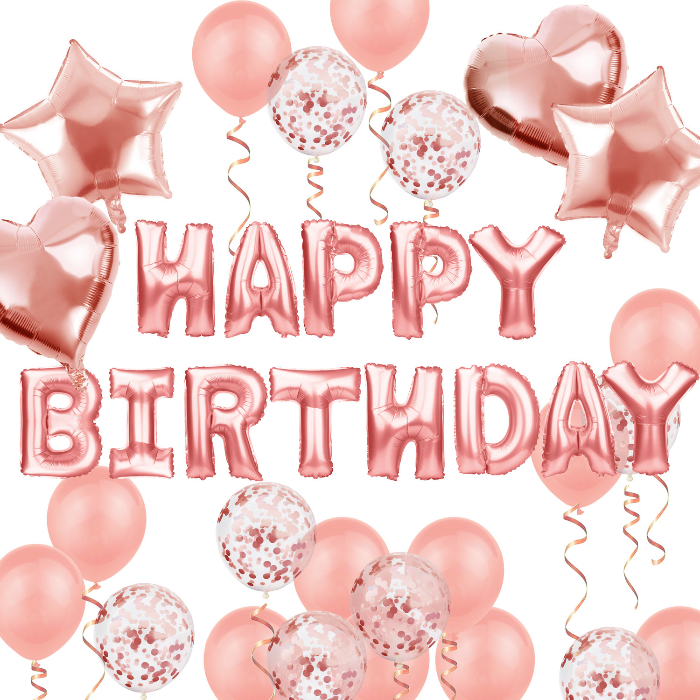 geburtstag party deko set - happy birthday + herzen folien