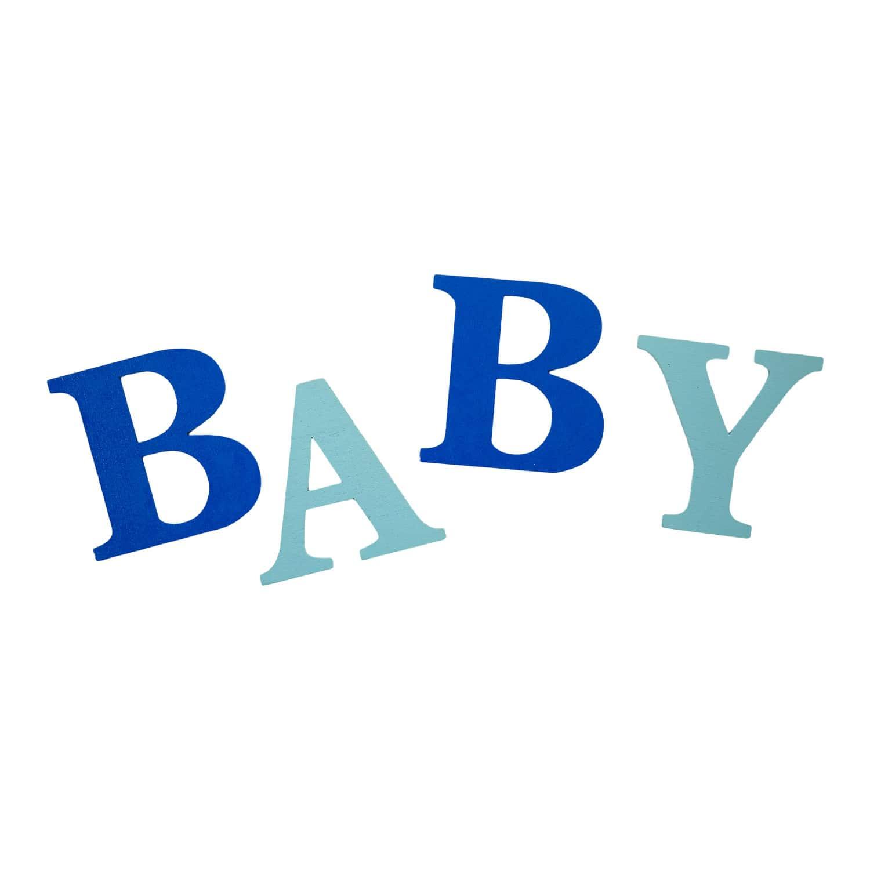 BABY Holz Buchstaben Set Tischdeko Baby Shower Party Kinderzimmer Deko blau
