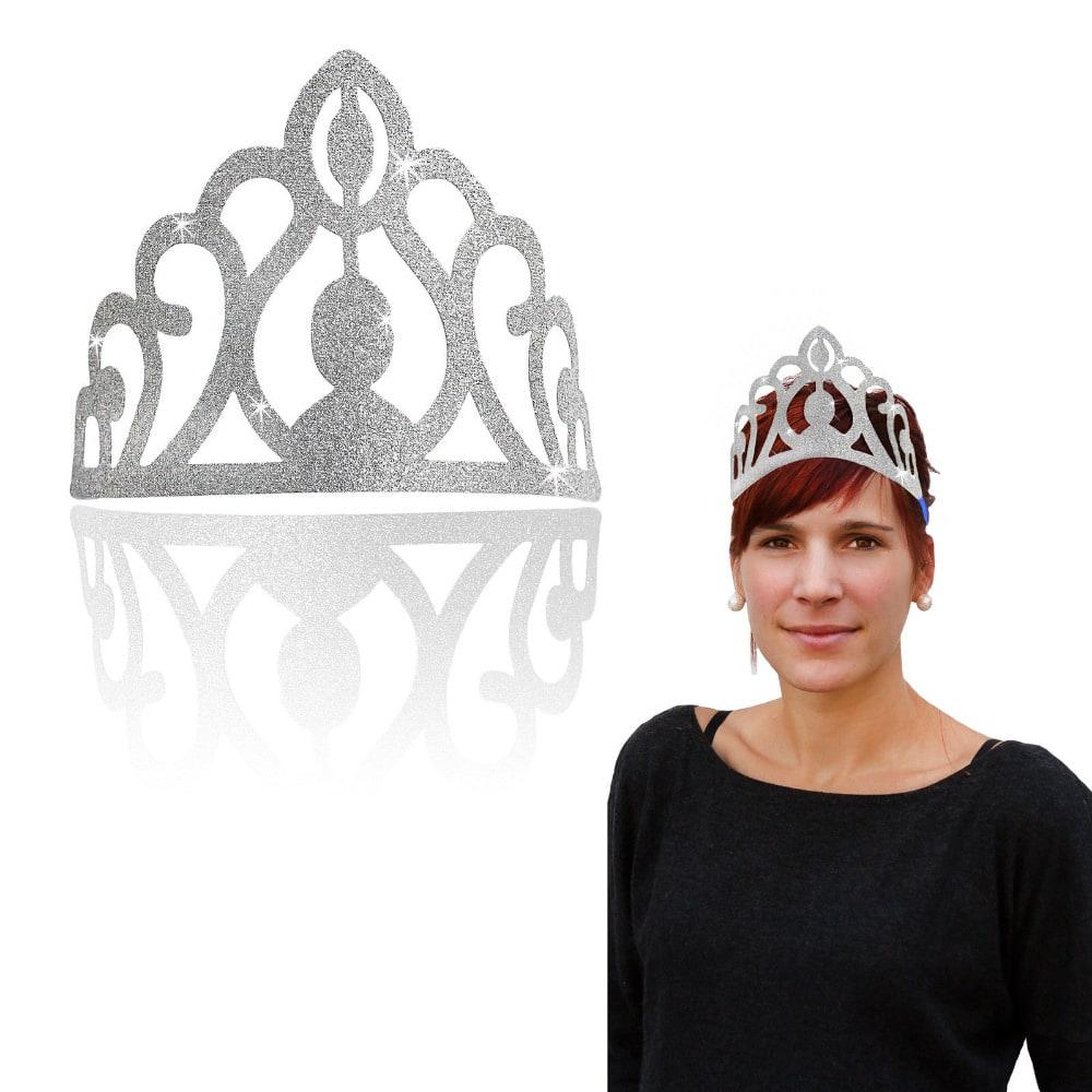Krone Mit Glitzereffekt Prinzessin Eis Konigin Kostum Karneval Silber