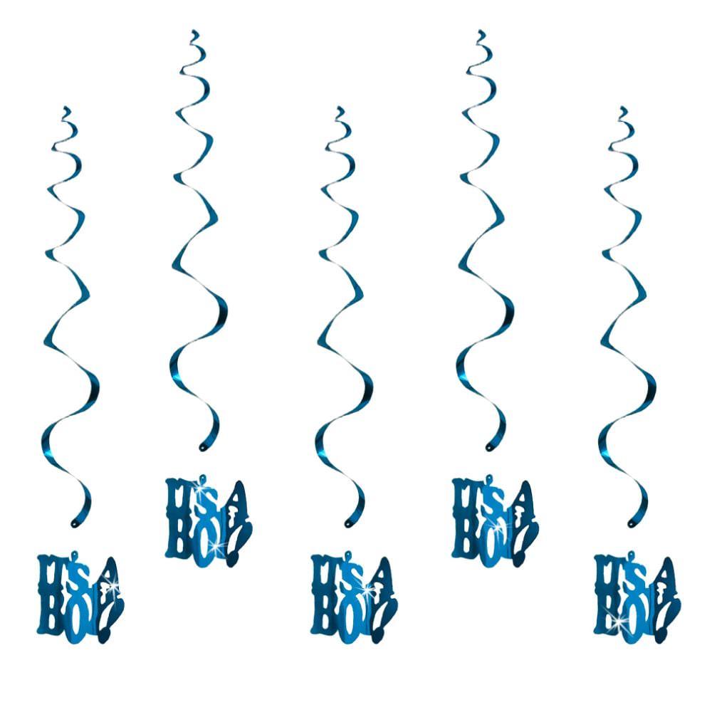 5 girlande spiral deckenh nger baby shower its a boy blau for Verspiegelte deko