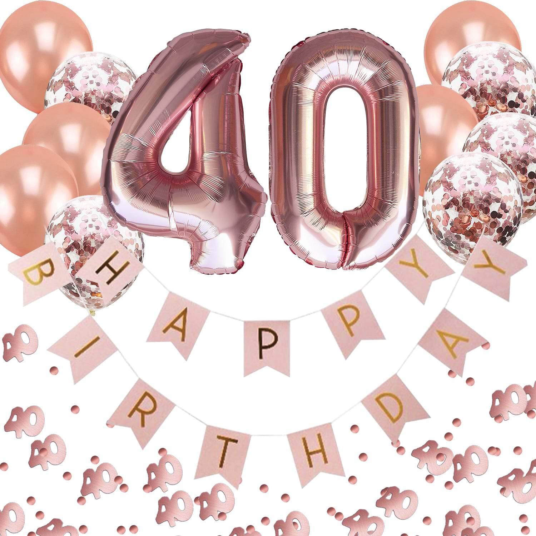 40. Geburtstag Party Deko Set - Girlande + Zahl 40 Ballons