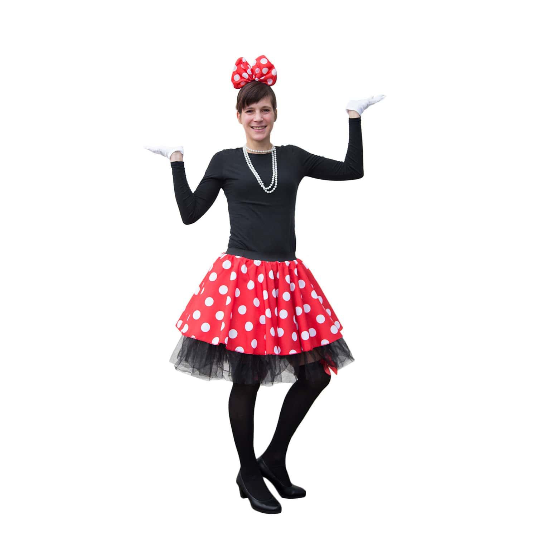 Frauen Damen Ballon Rock Rot Weiss Gepunktet Kostum Accessoire
