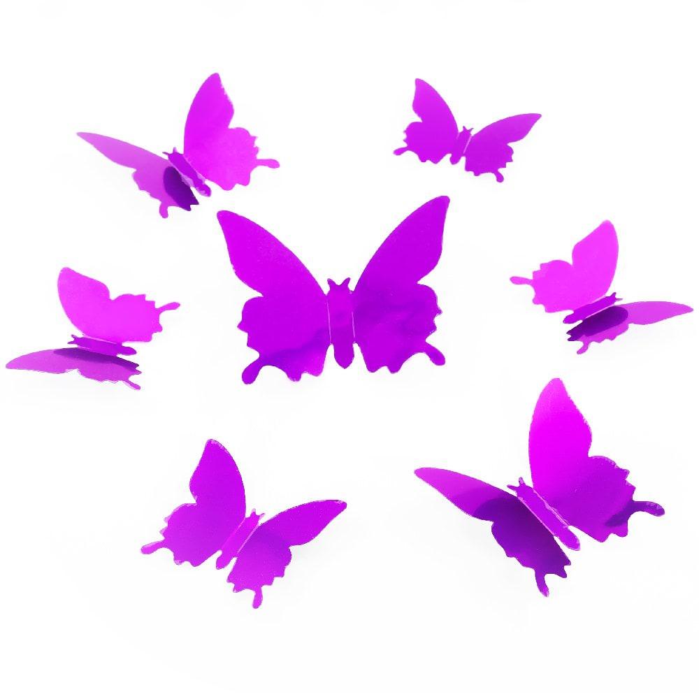 3d schmetterlinge 12er set wandtattoo wandsticker wanddeko lila - Wandtattoo lila ...