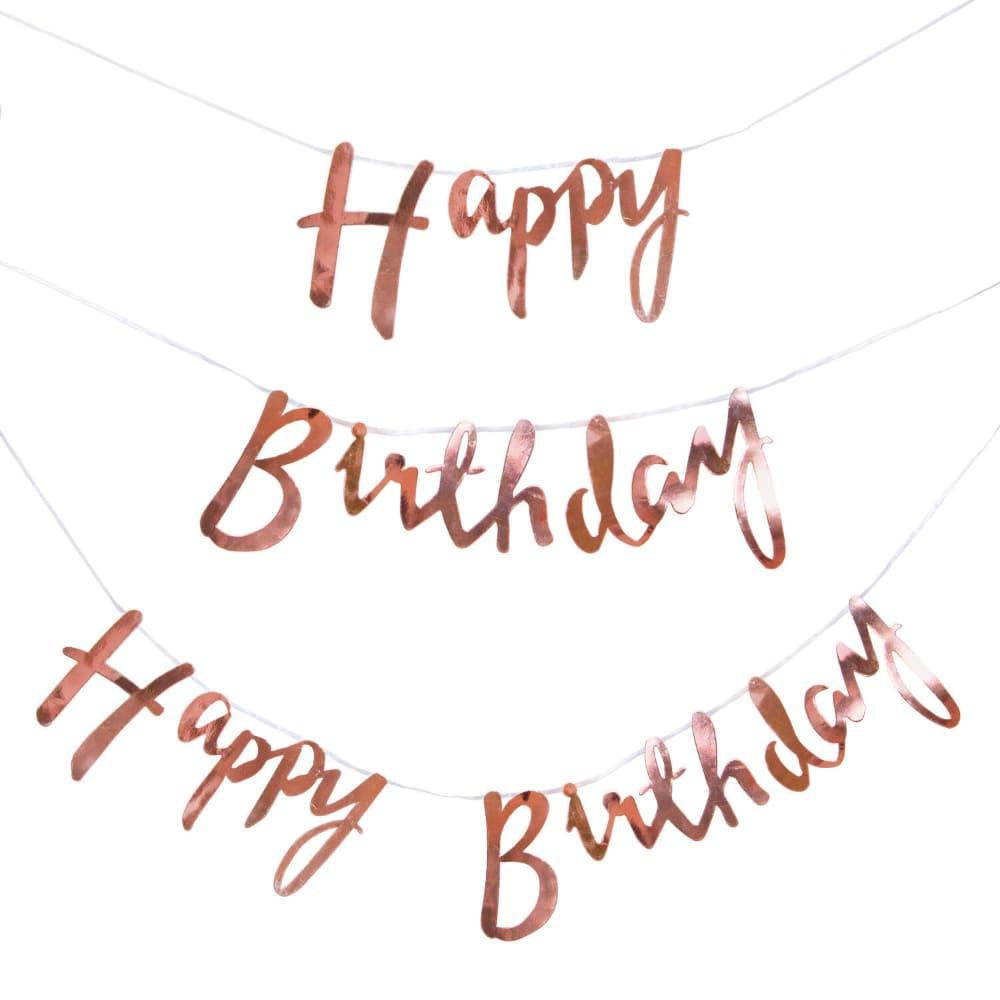 Happy Birthday Girlande Banner 1 5m Geburtstag Party Deko Rose Gold