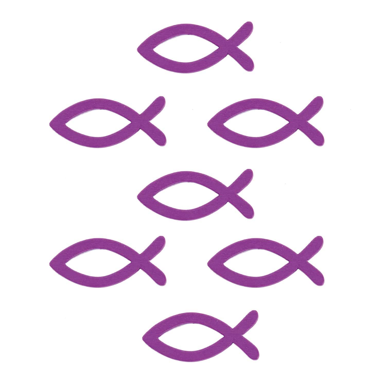 18 Holz Fische Streudeko Taufe Kommunion Konfirmation Echtholz Lila