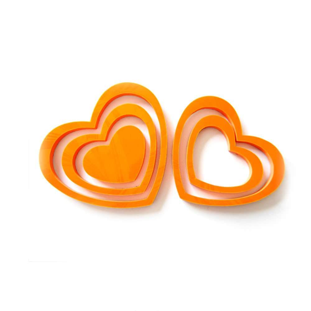 3D Herzen 5er Set Wandtattoo Dekoration 3D Deko - orange