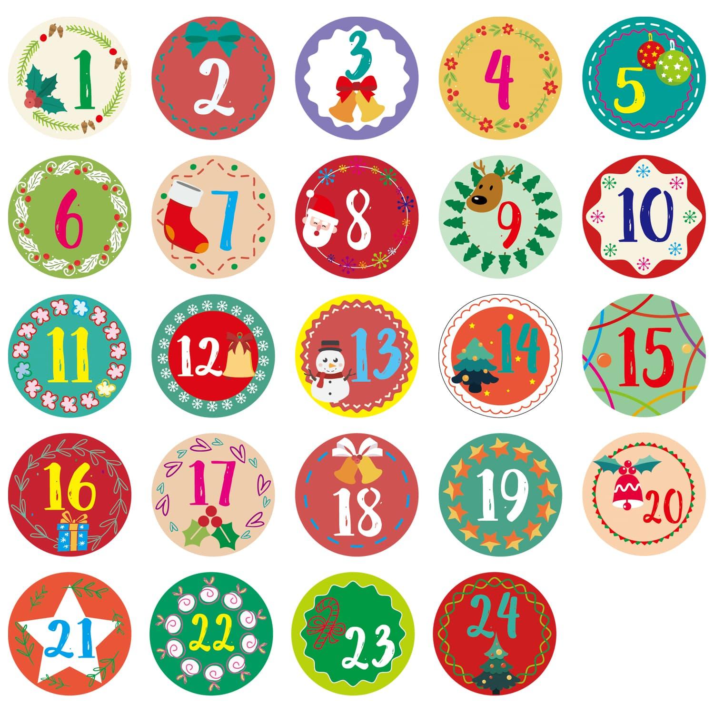 24 Zahlen Sticker Aufkleber Advent DIY Adventskalender Set 24 Boxen Schachteln