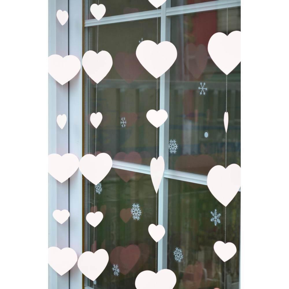2 Deckenhänger Herz Girlande Hochzeit Geburtstag Feier Deko Weiß