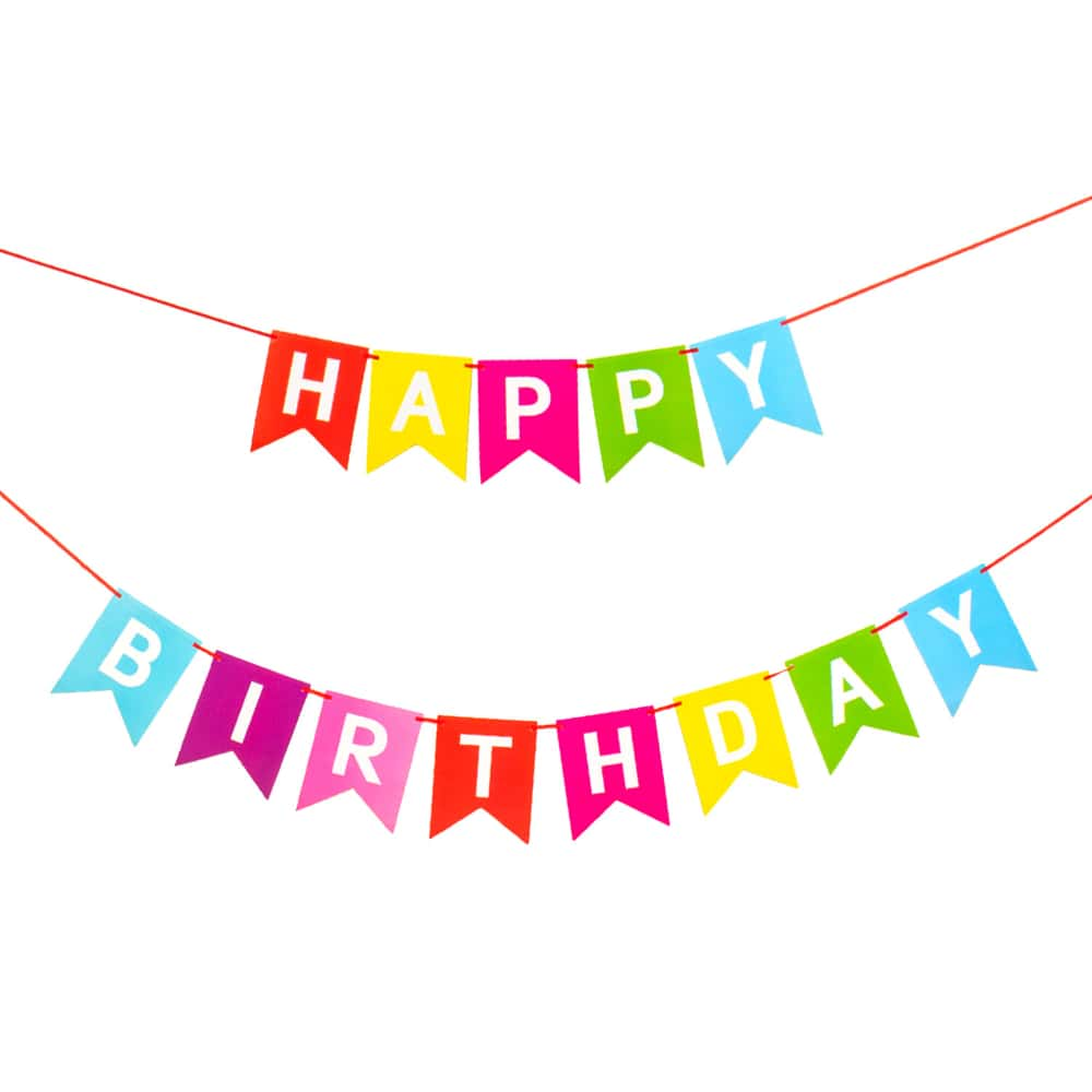 Happy Birthday Girlande Wimpel Banner 2,2m Farbmix Geburtstag Feier Party Deko