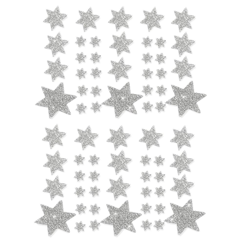 68 sterne sticker aufkleber glitzernd funkelnd for Weihnachtsdeko silber