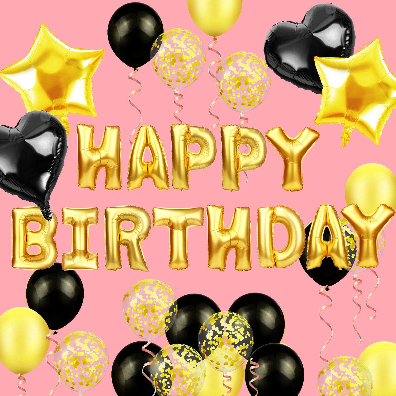 Geburtstag Party Deko Set   Happy Birthday + Herzen Folien Luftballons  Konfetti Ballons schwarz gold