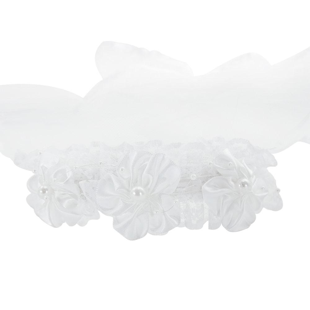 Haarreifen mit Brautschleier und Strasssteinen JGA Hochzeit Schleier
