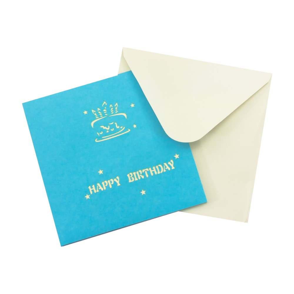 3d geburtstagskarte gru karte happy birthday pop up karte blau - Geburtstagskarte pop up ...