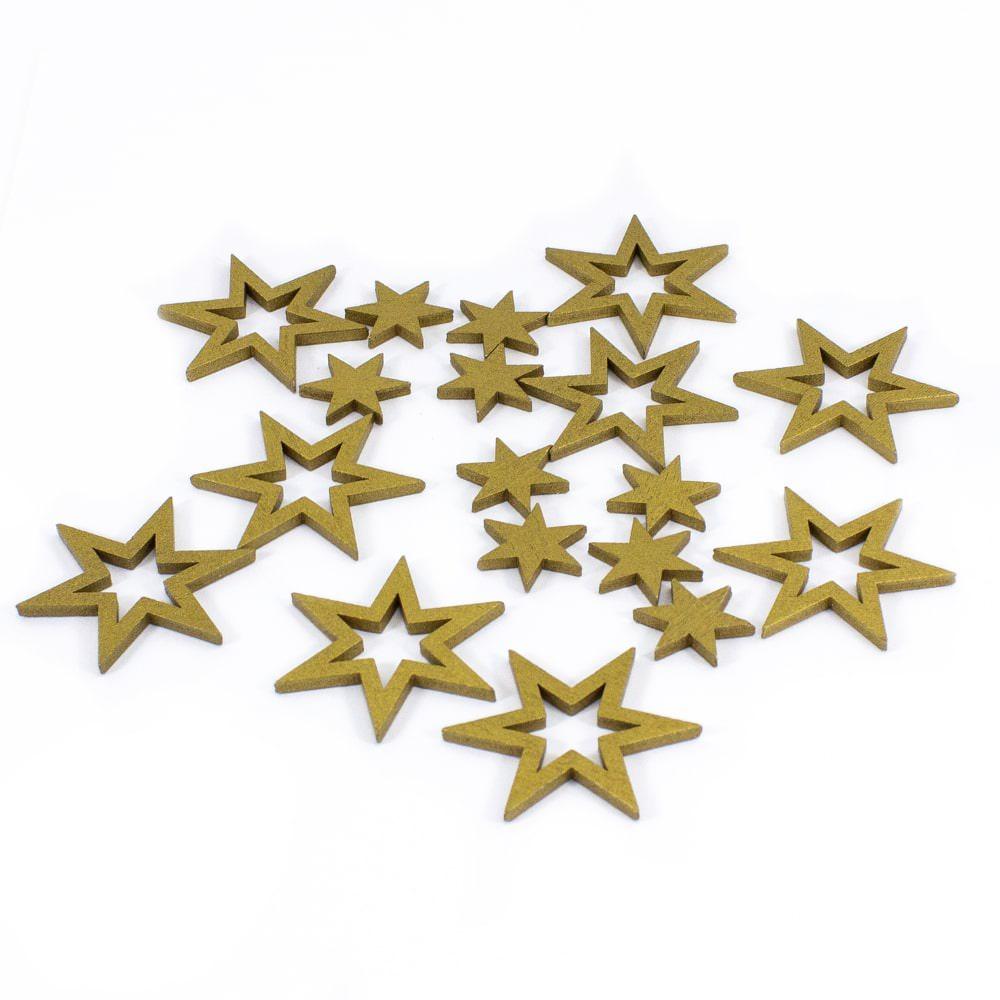 18 Holz Sterne Holzdeko Weihnachtsdeko Tischdeko Weihnachten Gold