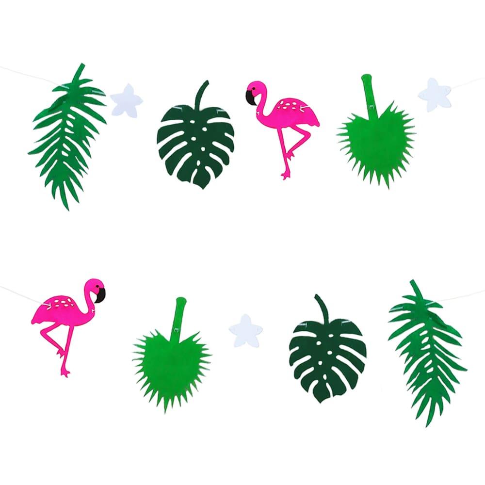Palmenblätter Deko.Hawaii Girlande Sommer Party Deko Banner Mit Flamingos Palmenblätter