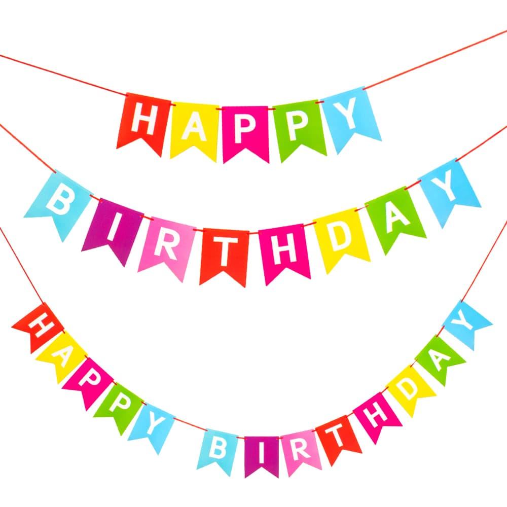 Happy Birthday Girlande Wimpel Banner 22m Geburtstag Party Deko Bunt
